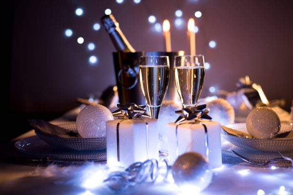 blue silver romantic new year eve luxury restaurant christmas table